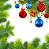 Het frame van Kerstmis met snuisterijen en Kerstmisboom Royalty-vrije Stock Foto