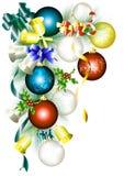 Het frame van Kerstmis met spartak, snuisterijen en klokken Royalty-vrije Stock Foto