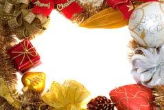 Het frame van Kerstmis met witte achtergrond Royalty-vrije Stock Fotografie