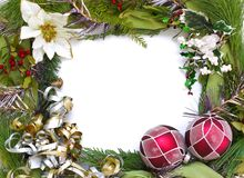 Het frame van Kerstmis met witte achtergrond Royalty-vrije Stock Foto