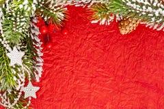 Het frame van Kerstmis van tak en sterren Royalty-vrije Stock Fotografie