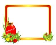 Het frame van Pasen met rood ei Royalty-vrije Stock Fotografie