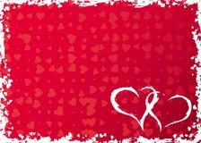 Het frame van valentijnskaarten grunge met harten, vector royalty-vrije illustratie