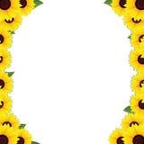 Het frame van zonnebloemen grenzen vector illustratie