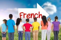 Het Frans tegen zonnig landschap Royalty-vrije Stock Afbeeldingen