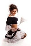 Het Franse meisje stellen met veerstofdoek Stock Afbeeldingen
