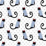 Het Franse naadloze patroon van de stijlkat op stippenachtergrond Leuke de katten vectorillustratie van de beeldverhaalzitting Royalty-vrije Stock Foto