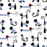 Het Franse naadloze patroon van stijldieren Leuke beeldverhaal Parijse tekkel, kat en Schotse terriër vectorillustratie Stock Fotografie
