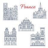 Het Franse pictogram van het reisoriëntatiepunt van beroemde kathedraal royalty-vrije illustratie