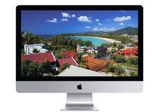 Het frontale MAC-computerscherm royalty-vrije stock afbeelding
