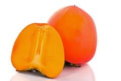 Het fruit een dadelpruim, geïsoleerdd ebbehout Stock Fotografie