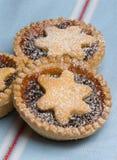 Het fruit hakt taartjes voor Kerstmisdag op fijn theedoek Royalty-vrije Stock Afbeeldingen