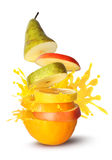 Het fruit snijdt sapuitbarsting royalty-vrije stock fotografie
