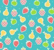 Het Fruit van achtergrond Apple, van de Aardbei en van de Peer Patroon Vector Stock Afbeeldingen