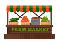 Het fruit van de landbouwbedrijfmarkt of plantaardig de box vector vlak ontwerp geïsoleerd pictogram van de verkoperscabine Stock Foto's