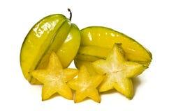 Het fruit van de sterappel met halve die dwarsdoorsnede op wit wordt geïsoleerd Royalty-vrije Stock Fotografie