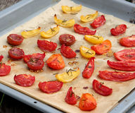 Het fruit van de tomaat het drogen stock afbeelding