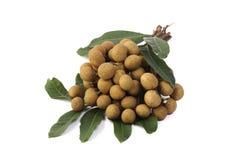 Het fruit van Longan dat op witte achtergrond wordt geïsoleerde Royalty-vrije Stock Foto