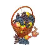 Het fruit in a wattled mand, het nog-leven. Stock Foto