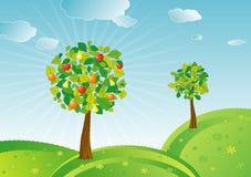 Het fruitbomen van de lente, vector   Royalty-vrije Stock Afbeeldingen