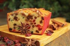 Het fruitcake van Kerstmis Stock Foto