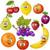 Het fruitkarakters van het beeldverhaal Fruit emoticons Druif, sinaasappel, appel, citroen, aardbei, perzik, banaan, pruim, kers, stock illustratie