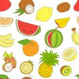 Het fruitpatroon van overzichtshand getrokken naadloos colorfull (vlakke stijl, royalty-vrije illustratie
