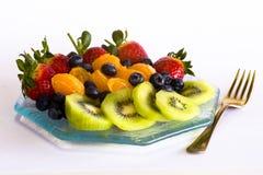 Het fruitplaat van de zomer Stock Afbeeldingen