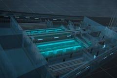 Het fundamentele 3d schema is het gegevenscentrum Royalty-vrije Stock Afbeelding