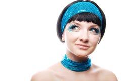 Het Funky de vrouw van de jaren '60stijl glimlachen Royalty-vrije Stock Afbeelding