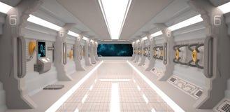 Het futuristische binnenland van het ontwerpruimteschip met metaalvloer en lichte panelen Stock Foto's