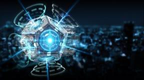 Het futuristische de cameraillustratie van de hommelveiligheid 3D teruggeven Royalty-vrije Stock Afbeeldingen
