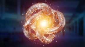 Het futuristische geweven de objecten van de torustechnologie 3D teruggeven Royalty-vrije Stock Foto