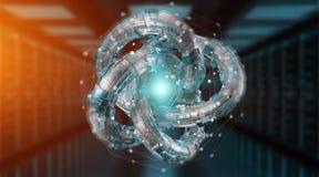 Het futuristische geweven de objecten van de torustechnologie 3D teruggeven Royalty-vrije Stock Afbeeldingen