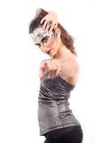 Het futuristische kijken vrouw die u roept Stock Foto's