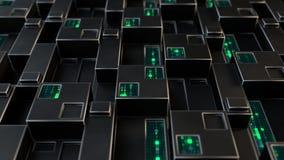 Het futuristische technologiepaneel met digitale 3D code geeft terug royalty-vrije illustratie