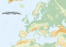 Het fysieke raster van Europa Stock Afbeeldingen