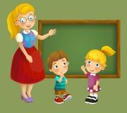Het gaan naar school - illustratie voor de kinderen Stock Afbeeldingen