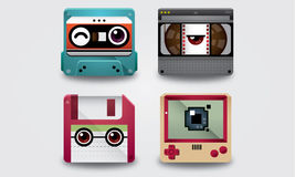 Het gadgetthema van pictogramjaren '90 Royalty-vrije Stock Foto