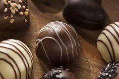 Het gastronomische Buitensporige Donkere Suikergoed van de Chocoladetruffel Stock Foto's