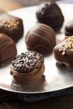 Het gastronomische Buitensporige Donkere Suikergoed van de Chocoladetruffel Royalty-vrije Stock Afbeeldingen