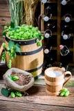 Het gastronomische hoogtepunt van de bierkelder van flessen Stock Foto
