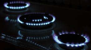 Het gasvlammen van het fornuis Stock Foto's