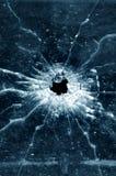 Het gat van de kogel in venster Royalty-vrije Stock Foto