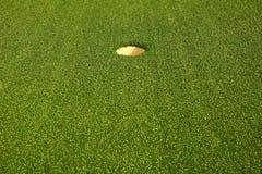 Het gat van het golf op het groene gras Stock Fotografie