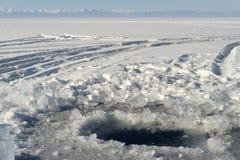 Het gat van het ijs Stock Foto