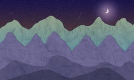 Het geïllustreerde landschap van de nachtberg met maan en sterren royalty-vrije illustratie