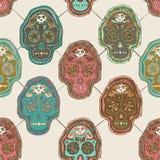 Het geïllustreerde Mexicaanse Ontwerp van het Schedel Naadloze Patroon Stock Illustratie