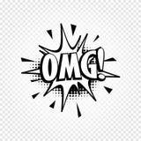 Het geïsoleerde abstracte zwart-witte pictogram van de de toespraakballon van de kleurenstrippagina op geruite achtergrond, dialo Stock Foto's