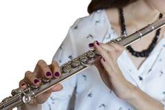 Het Geïsoleerde beeld van de Musicusfluitist Girl Flute Player stock fotografie